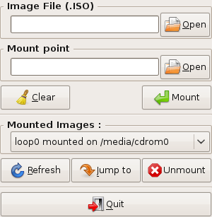 Screenshot of Gmount-iso GUI